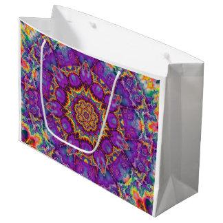 Arte púrpura del caleidoscopio del arco iris de la bolsa de regalo grande