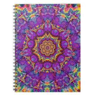 Arte púrpura del caleidoscopio del arco iris de la libro de apuntes