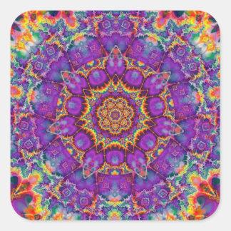 Arte púrpura del caleidoscopio del arco iris de la pegatina cuadrada