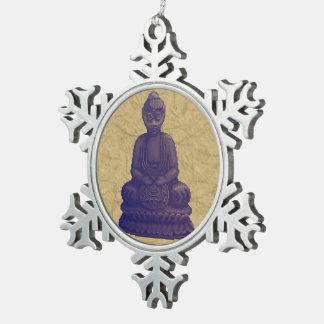Arte púrpura del pixel de Buda Adorno De Peltre En Forma De Copo De Nieve