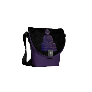 Arte púrpura del pixel de Buda Bolsa De Mensajería