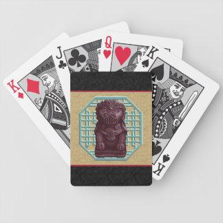 Arte púrpura del pixel del perro del león baraja cartas de poker