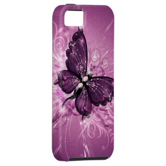 arte púrpura del vector de la mariposa iPhone 5 Case-Mate protectores