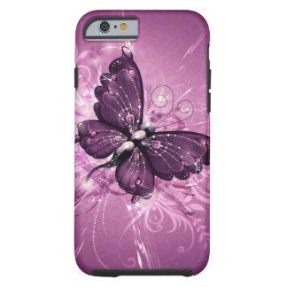 arte púrpura del vector de la mariposa funda para iPhone 6 tough