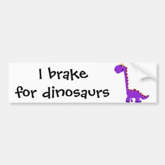 Arte púrpura divertido XY del primitivo del dinosa Etiqueta De Parachoque