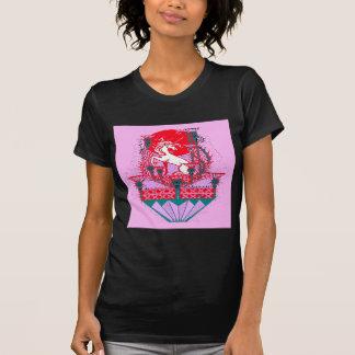 Arte Púrpura-rojo rosáceo del unicornio blanco por Camisetas