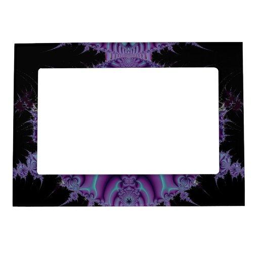 Arte púrpura y negro del fractal marcos magneticos para fotos