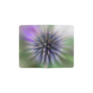 Arte púrpura y verde de la flor del enfoque de libreta de bolsillo moleskine