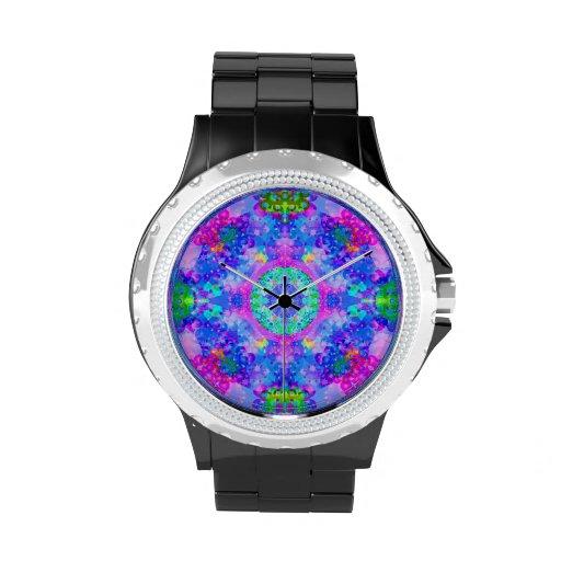 Arte púrpura y verde del fractal del caleidoscopio relojes de mano