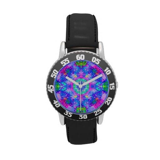 Arte púrpura y verde del fractal del caleidoscopio reloj