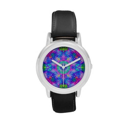 Arte púrpura y verde del fractal del caleidoscopio relojes de pulsera