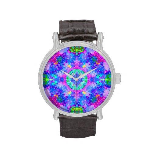 Arte púrpura y verde del fractal del caleidoscopio relojes
