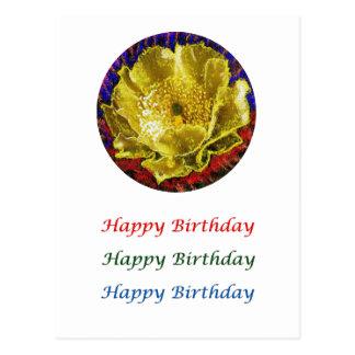 Arte que hace estallar del ojo de oro - flor de tarjeta postal