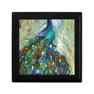 arte quebrado del pavo real de la belleza joyero cuadrado pequeño
