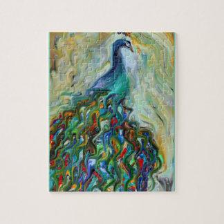 arte quebrado del pavo real de la belleza puzzle con fotos