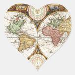 Arte raro de la antigüedad de los hemisferios del calcomanía de corazón