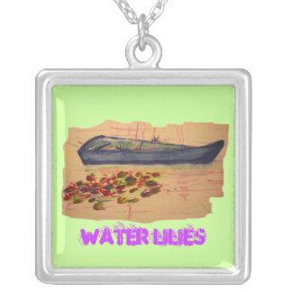 arte rasgado del bosquejo de los lirios de agua colgante cuadrado