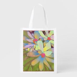 Arte Re-usable Foldaway de la flor de la magnolia Bolsa Reutilizable