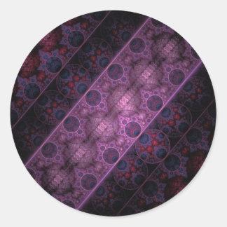 Arte real del fractal de las rayas pegatina redonda