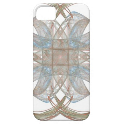 Arte redondo del fractal del azul y del oro iPhone 5 cárcasa