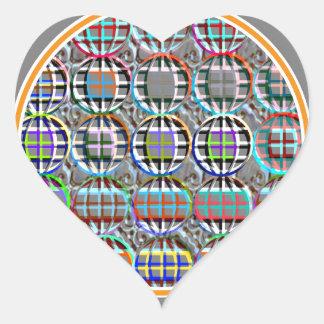 Arte redondo grabado en relieve del círculo de la pegatina en forma de corazón