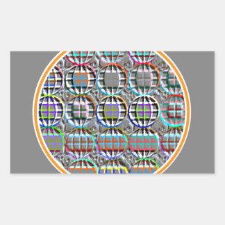 Arte redondo grabado en relieve del círculo de la pegatina rectangular