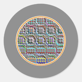 Arte redondo grabado en relieve del círculo de la pegatina redonda