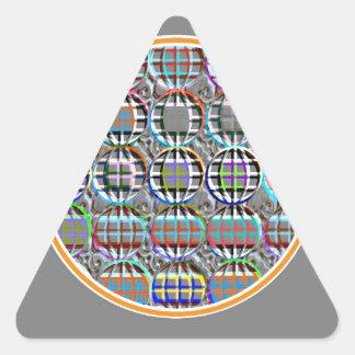 Arte redondo grabado en relieve del círculo de la pegatina triangular