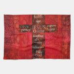 Arte religioso contemporáneo cruzado cristiano roj toalla de mano