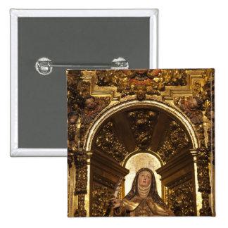 Arte religioso que representa a Santa Teresa 2 Pin Cuadrada 5 Cm