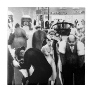 "Arte renacentista de Harlem - ""correa negra "" Azulejo Cuadrado Pequeño"
