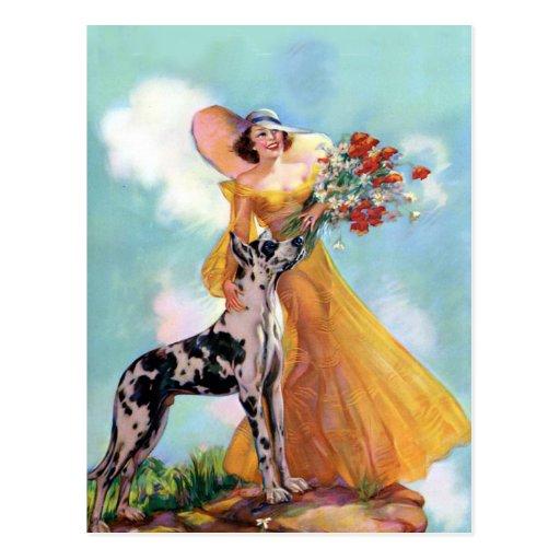 Arte retro bonito en Notecards Tarjeta Postal