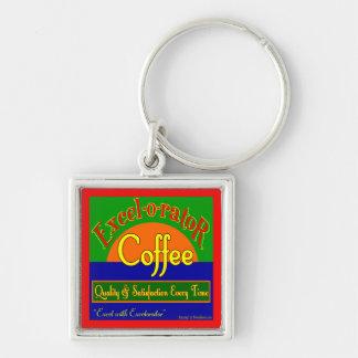 Arte retro de la etiqueta del café de Excelorator Llavero Cuadrado Plateado