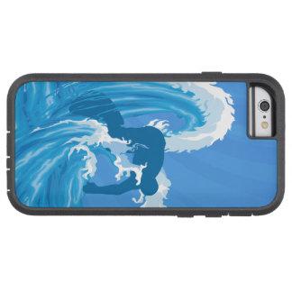 Arte retro de la persona que practica surf de la funda tough xtreme iPhone 6