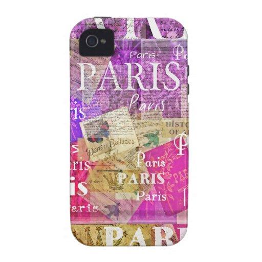 ARTE retro de la torre Eiffel de París del vintage iPhone 4 Fundas