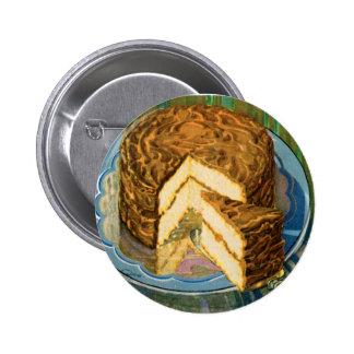 Arte retro de la torta de chocolate de la comida d pin redondo 5 cm