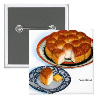 Arte retro de Rolls del llano del pan de la comida Pin Cuadrada 5 Cm
