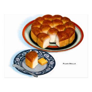 Arte retro de Rolls del llano del pan de la comida Tarjeta Postal