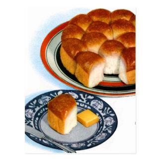 Arte retro de Rolls del llano del pan de la comida Postal