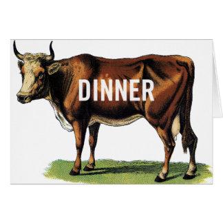 Arte retro del anuncio de la cena de la vaca de tarjeta de felicitación