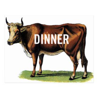 Arte retro del anuncio de la cena de la vaca de postal