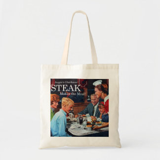 Arte retro del anuncio de la cena del filete de ca bolsa tela barata