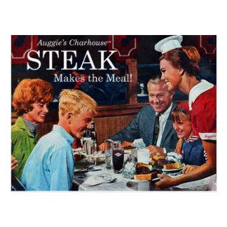 Arte retro del anuncio de la cena del filete de postales