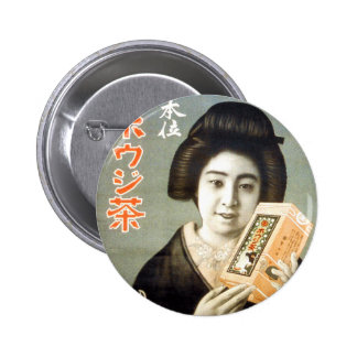 Arte retro del anuncio del geisha de Japón del kit Pin Redondo De 2 Pulgadas
