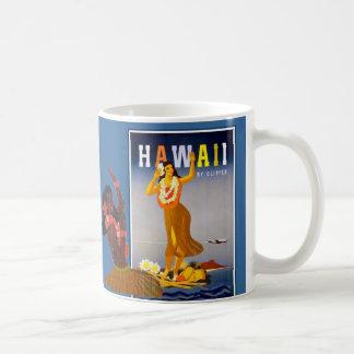 Arte retro del chica de Hawaii Hula Taza Básica Blanca