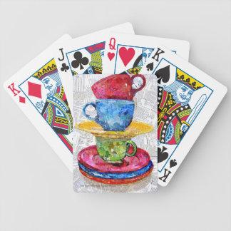 Arte retro del collage del servicio de mesa baraja de cartas bicycle