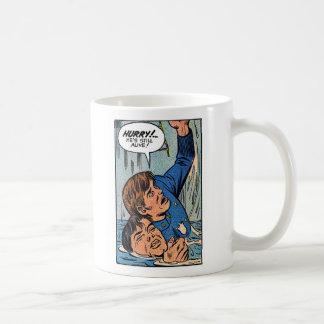 Arte retro del cómic de la policía del kitsch del taza de café