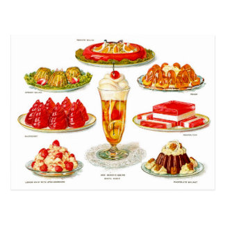 Arte retro del desierto de la gelatina de la comid tarjetas postales