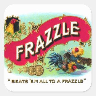 Arte retro del Frazzle de la caja de cigarros del Pegatina Cuadrada