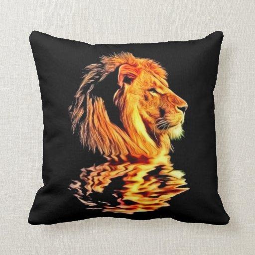 Arte retro del león almohada